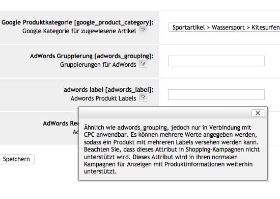 Shop export interface - Google Merchant Center - datafeed export ...