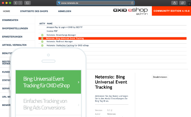 Bing - Universal Ecommerce Tracking for OXID eShop | Netensio
