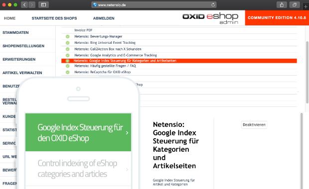 Google Index Steuerung für OXID eShop