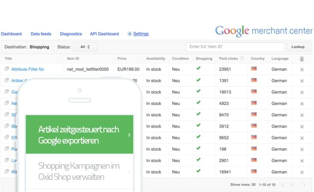 Google Merchant Center für Oxid