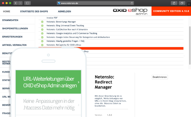 Redirect Manager for OXID eShop