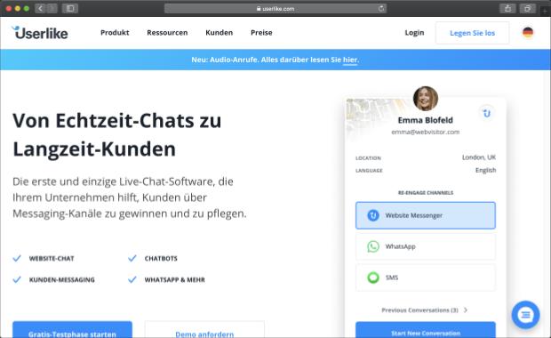 Userlike Live-Chat Software für OXID eShop