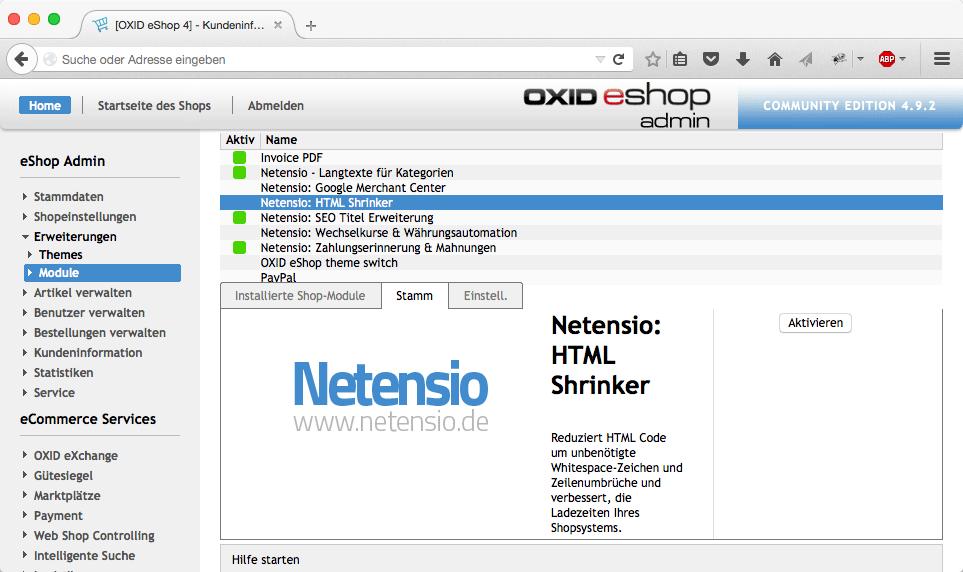 HTML compression for OXID eShop