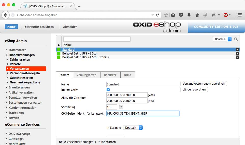 Méthodes d'expédition Description HTML pour OXID eShop