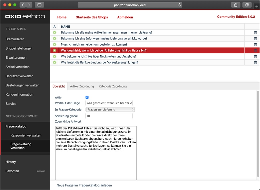 FAQ manager for OXID eShop administration