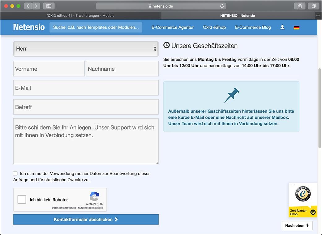 ReCaptcha for OXID eShop