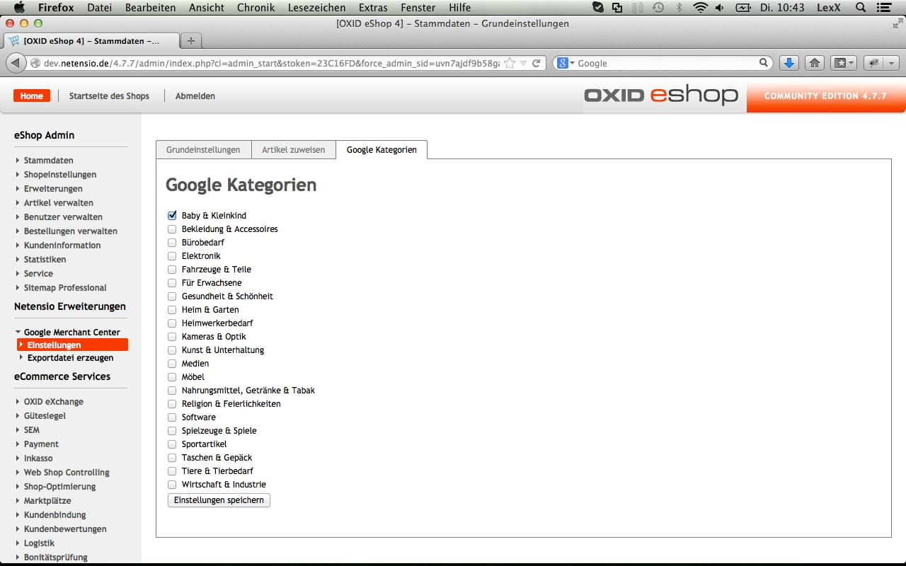 OXID - Google Merchant Center