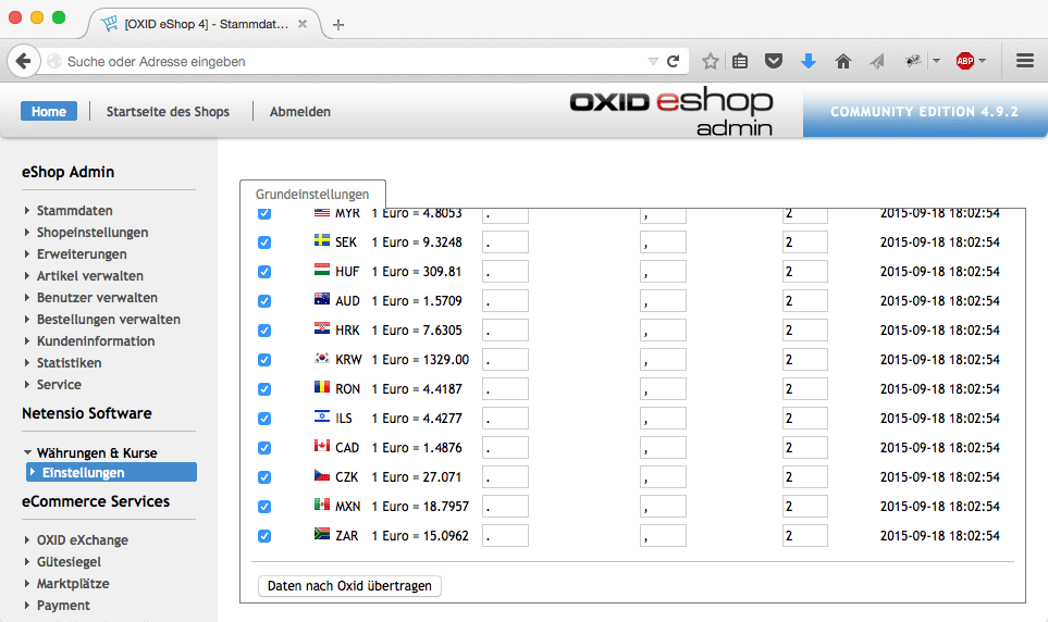 OXID currencies and currency rate interface