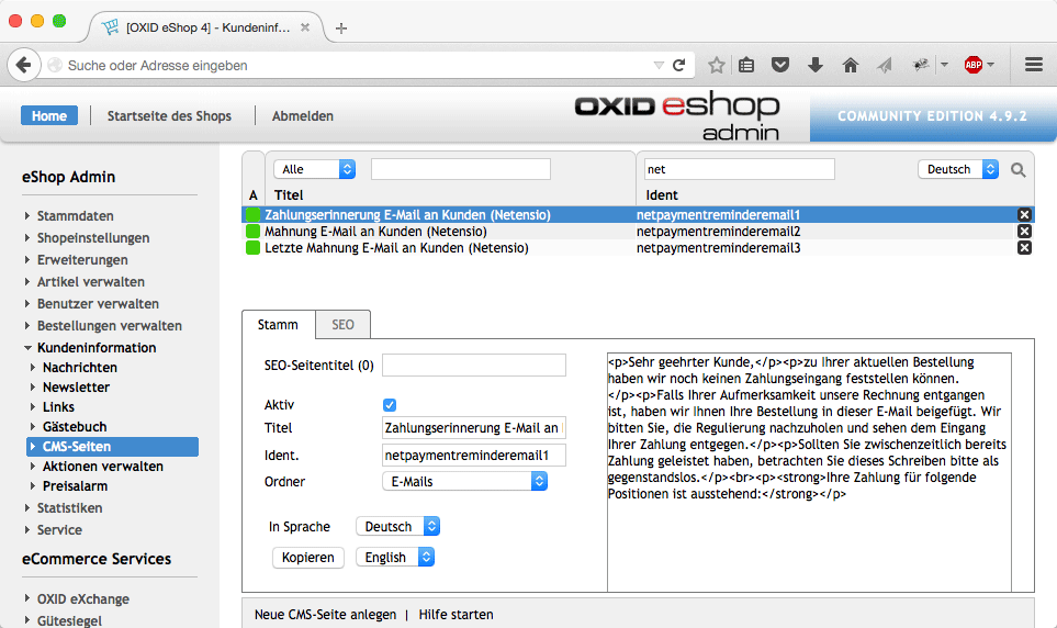 OXID eShop - cronjob payment reminder