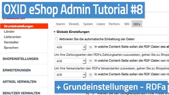 OXID eShop Admin Tutorial Teil 08 - Grundeinstellungen - RDFa
