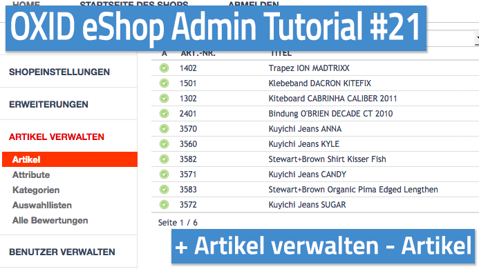 OXID eShop Admin Tutorial Teil 21 - Artikel verwalten - Artikel