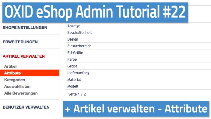 OXID eShop Admin Tutorial Teil 22 - Artikel verwalten - Attribute