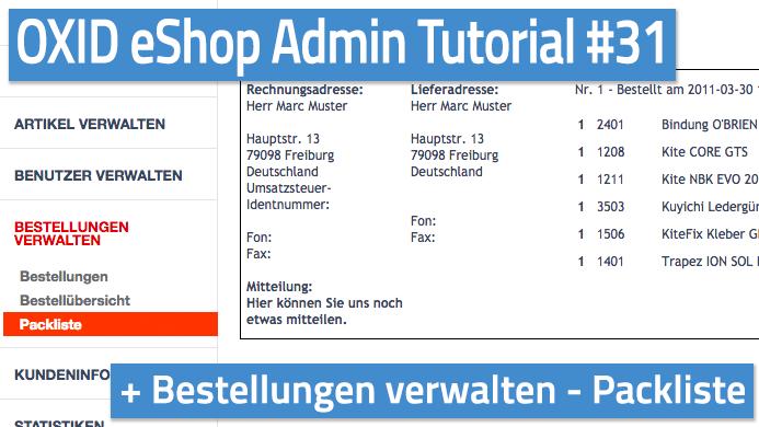 OXID eShop Admin Tutorial Teil 31 - Bestellungen verwalten - Packliste
