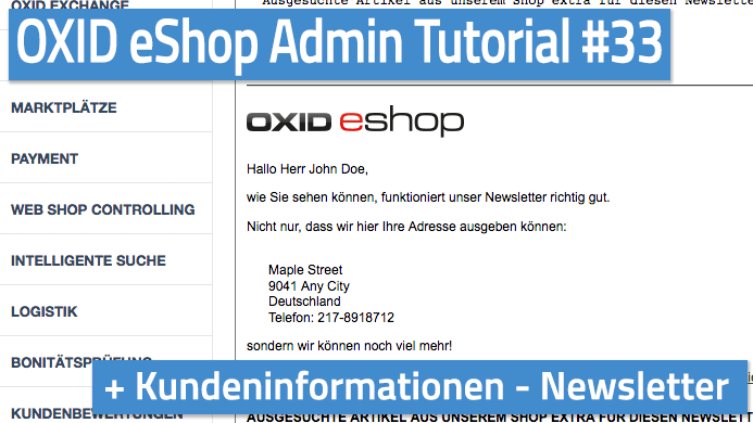 OXID eShop Admin Tutorial Teil 33 - Kundeninformationen - Newsletter
