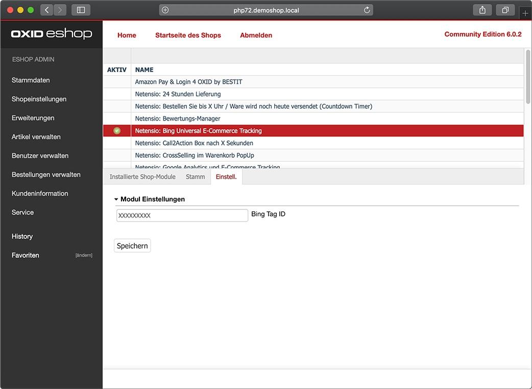 Nach Modul-Aktivierung geben Sie einfach Ihre Bing Tracking ID in das Textfeld ein, drücken auf speichern und schon ist das Event Tracking bereit.
