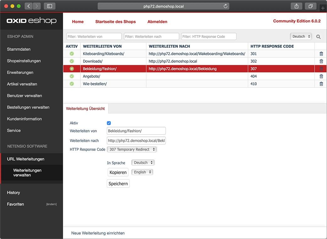 URL Weiterleitungen bequem in der OXID eShop Administration anlegen und verwalten