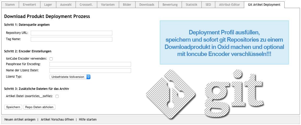 OXID / GIT Download Artikel Deployment