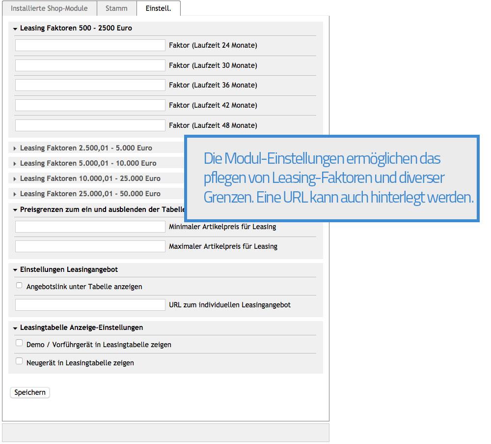 Oxid Leasing Rechner - Admin Moduleinstellungen