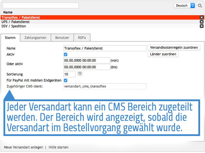 Das Modul erweitert die Oxid Administration um eine Zuweisungsmöglichkeit für CMS-Ident Codes.