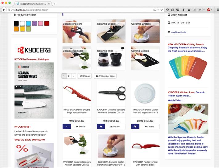 Responsive Oxid eShop für Küchengeräte und Keramikmesser