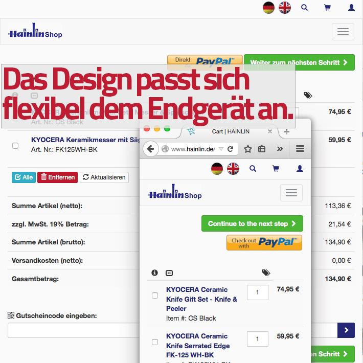 Hainlin.de Oxid eShop mit cleverem responsive Design von Netensio