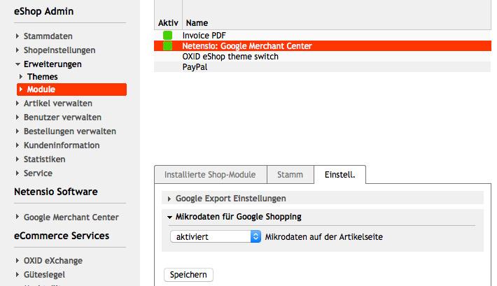Mikrodaten für Google Shopping in den Moduleinstellungen des Google Merchant Center Oxid Moduls aktivieren oder deaktivieren